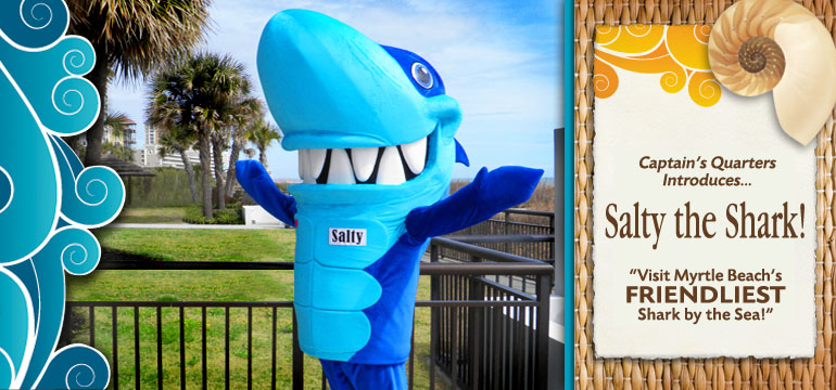 Family-Friendly Salty the Shark Captain's Quarters Mascot